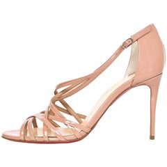 Christian Louboutin NEW Nude Patent Ete Sandals sz 37 NIB w/BOX/DB
