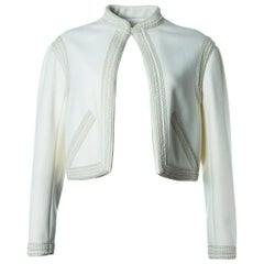 Valentino Women's Ivory White Woven Cropped Jacket