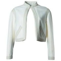 Valentino Women's Ivory White Woven Cropped Jacket