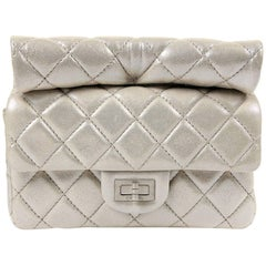 Chanel Silver Leather Roll Handle Clutch