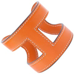 Hermès Orange Leather H Cuff Bangle Bracelet
