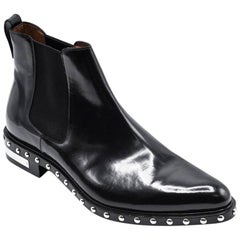 Givenchy Men's Black Patent Studded Ankle Boots