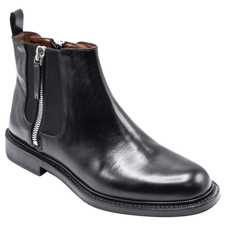 Givenchy Mens Black Leather Double Zip Detail Ankle Boots For Sale