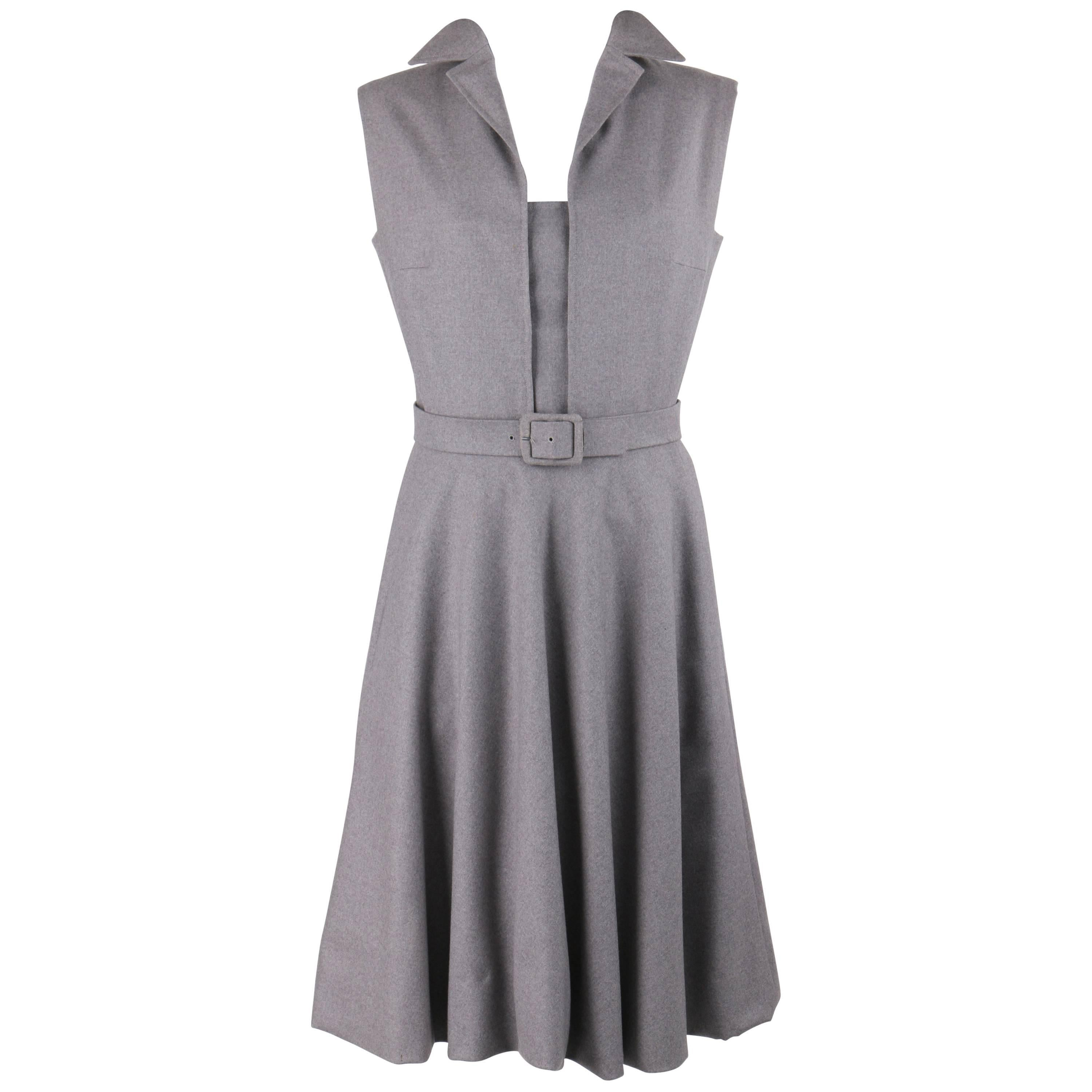 PAULINE TRIGERE c.1980's Gray Wool Extended Shoulder Belted Day Dress