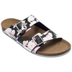Givenchy Men's Leather Floral Print Slipper Slip Ons
