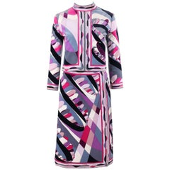 EMILIO PUCCI c.1960's 2 Pc Purple Signature Op Art Print Jacket Skirt Suit Set