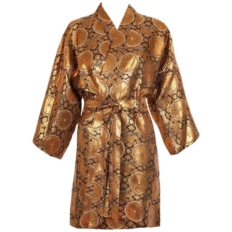 Vintage Japanese Golden Copper & Black Metallic Patterned Kimono w/Self Belt