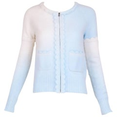 Chanel Blue and White Ombre Angora Zippered Cardigan with Crochet Trim