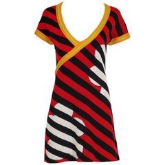 1970's Rudi Gernreich Knit Floral Print & Striped Mini Dress Coverup w/Side Slit