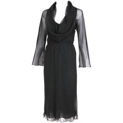 1970's Halston Black Sheer Bias Cut Silk Chiffon Slip Dress w/Cowl Neckline