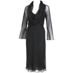 1970's Halston Black Sheer Bias Cut Silk Chiffon Slip Dress w/Cowl Neckline