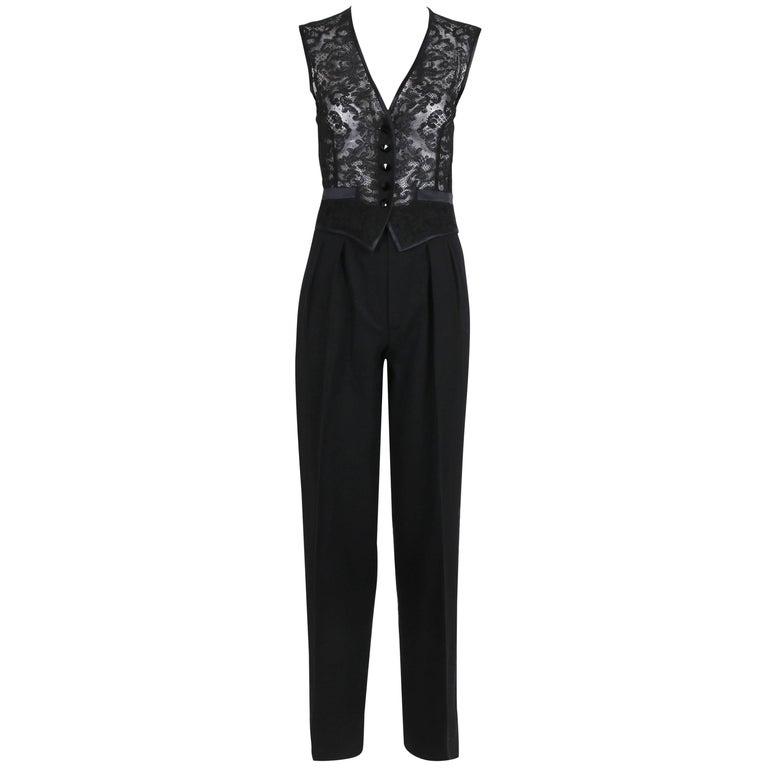 Yves Saint Laurent Black Tuxedo Pants & Lace Vest w/Matching Satin Trim  For Sale