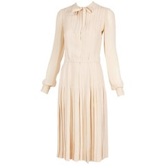 Ca. 1970 Chanel Haute Couture Silk Day Dress w/Pleating & Neck Ties n°49278
