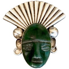 Mexican Sterling Silver Jade Brooch