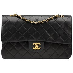 1990s Chanel Black Quilted Lambskin Vintage Medium Classic Double Flap Bag