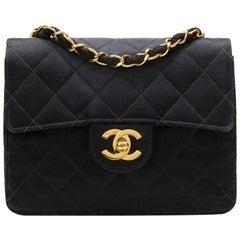 1990s Chanel Black Satin Vintage Mini Flap Bag