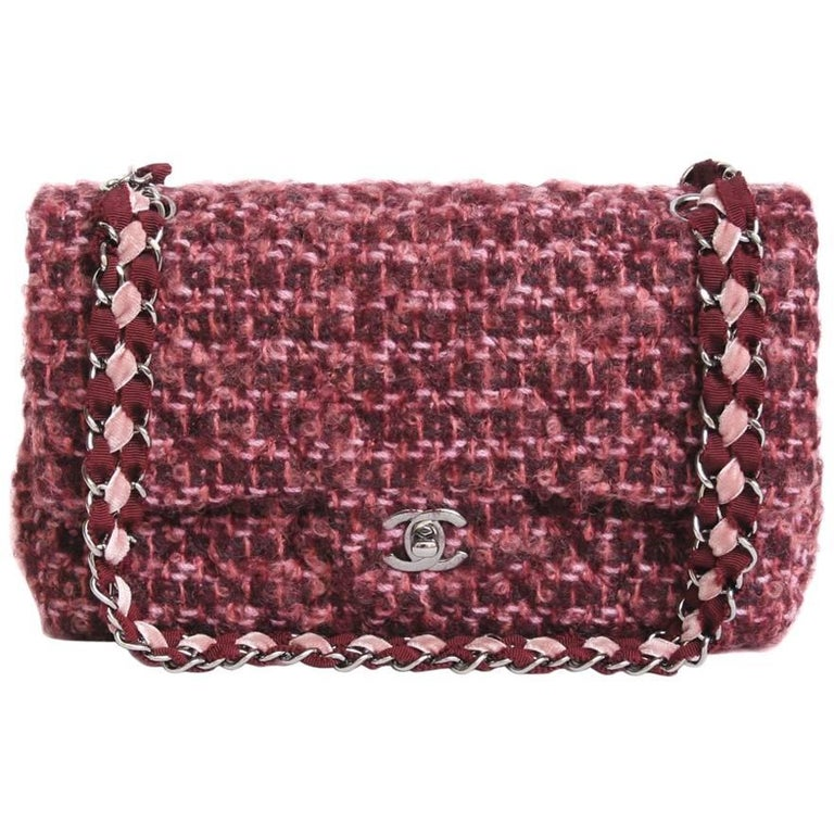 CHANEL 'Timeless' Double Flap Bag in Bordeaux Tweed