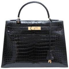 Vintage HERMES 'Kelly' 32 Black Crocodile Porosus Handbag
