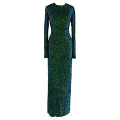 Lorry Newhouse Floor Length Sequin Dress with Long Sleeves - Turquoise