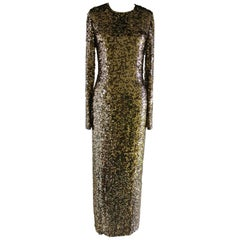 Long Sleeve Sequin Dress - Gold