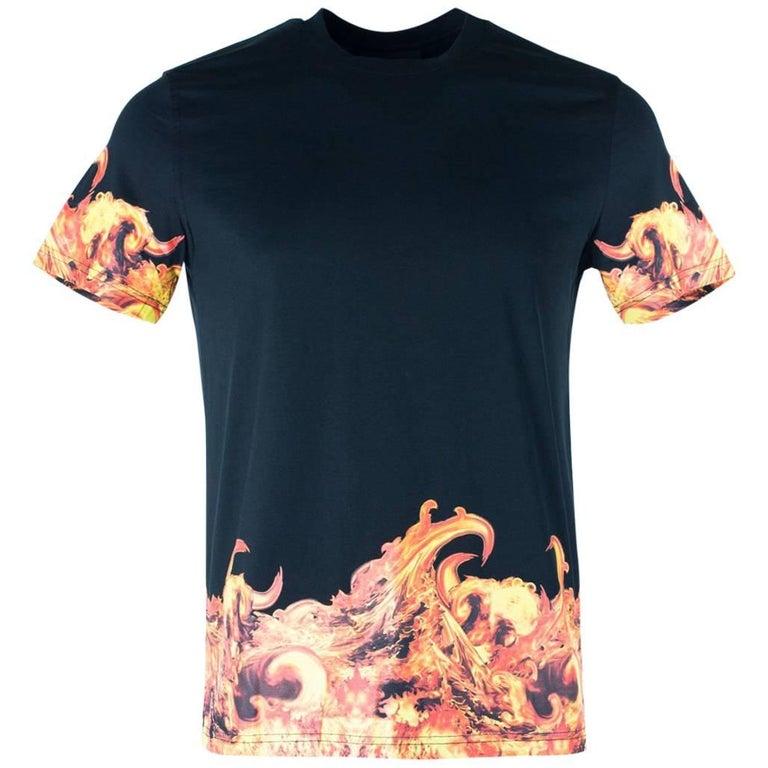 Givenchy men 39 s 100 cotton black flames graphic t shirt for T shirt graphics for sale