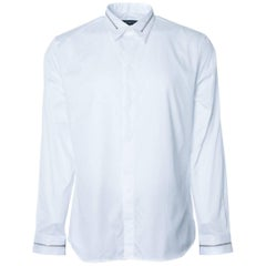 Givenchy Men's Solid Cotton White W/ Zipper Button Down