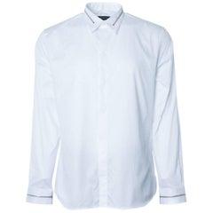 Givenchy Men's Solid Cotton White W/ Zipper Button Down