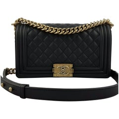 Chanel Medium Boy Bag Quilted Leather - Black with Gold Hardware