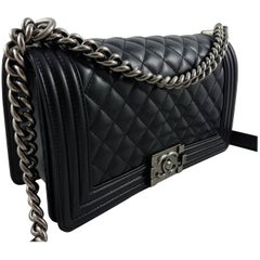 Chanel Medium Boy Bag Quilted Leather Black with Silver Hardware