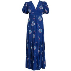 1970's Ossie Clark Blue Floral Celia Birtwell Print Rayon Puff-Sleeve Dress