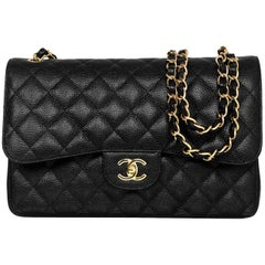 Chanel 2017 Black Quilted Caviar Leather Jumbo Double Flap Bag w/ Box/Card/DB
