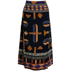 1969 Yves Saint Laurent Documented Graphic Op-Art Print Pleated Wool Wrap Skirt