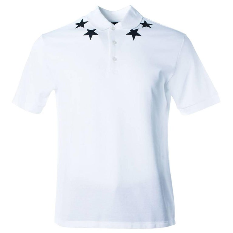1668d2fc Givenchy Men's White Polo Black Star Embroidered Shirt For Sale at ...
