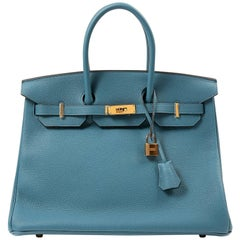 Hermès Cobalt Togo Leather 35 cm Birkin Bag with Gold Hardware