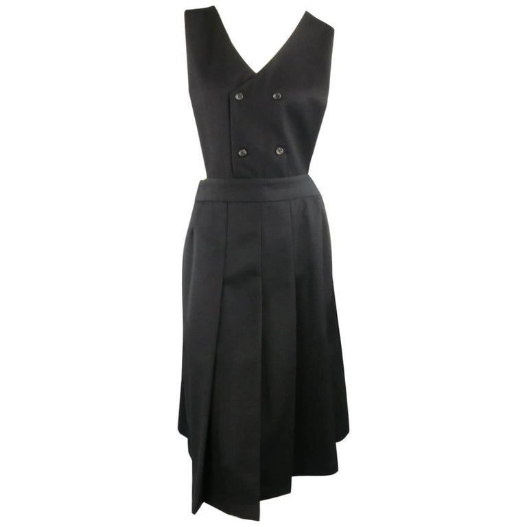 COMME des GARCONS Size L Black Wool Box Pleated Skirt Dress For Sale