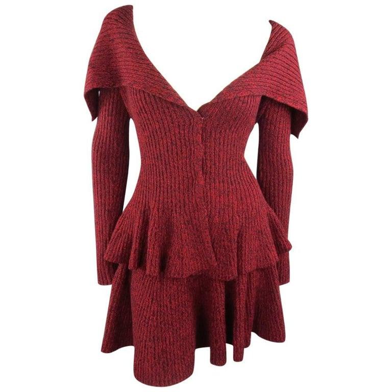 ALEXANDER MCQUEEN Size S Burgundy Wool Shawl Collar Peplum Cardigan Skirt Set