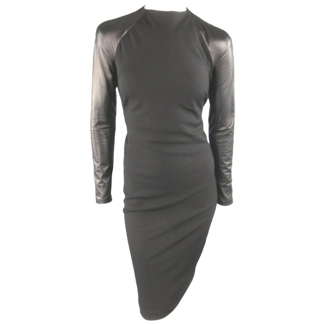 Ralph Lauren Black Wool Leather Sleeve Megan Gown / Dress, Collection 2012