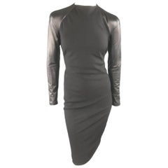 Ralph Lauren Black Wool Leather Sleeve Megan Gown / Dress, Collection 2012
