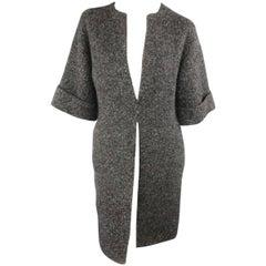 RALPH LAUREN Size S Charcoal Metallic Wool Blend Boucle Open Cardigan Coat