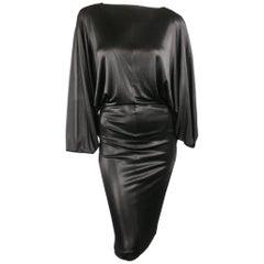 MAISON MARTIN MARGIELA S Black Lame' Draped Batwing Sleeve Dress