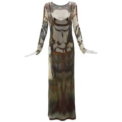 Vivienne Tam Printed Stretch Knit Buddah Collection Maxi Dress, Circa 1990's