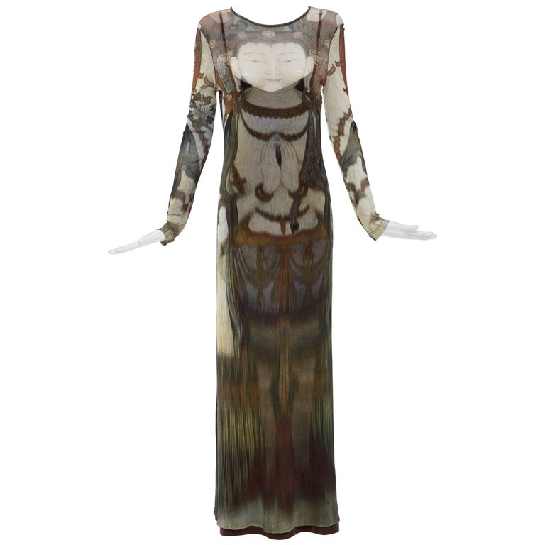 3db7f9852 Vivienne Tam Printed Stretch Knit Buddah Collection Maxi Dress, Circa  1990's For Sale