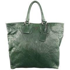 PRADA Green Textured Leather Tote Handbag