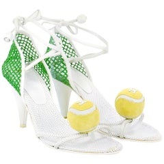 Chanel Tennis Themed Ankle Wrap Sandals