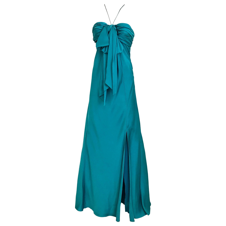 John Galliano Vintage Teal Blue Silk Halter Gown
