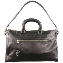 PRADA Black Leather Snap Zipper Shoulder Handbag