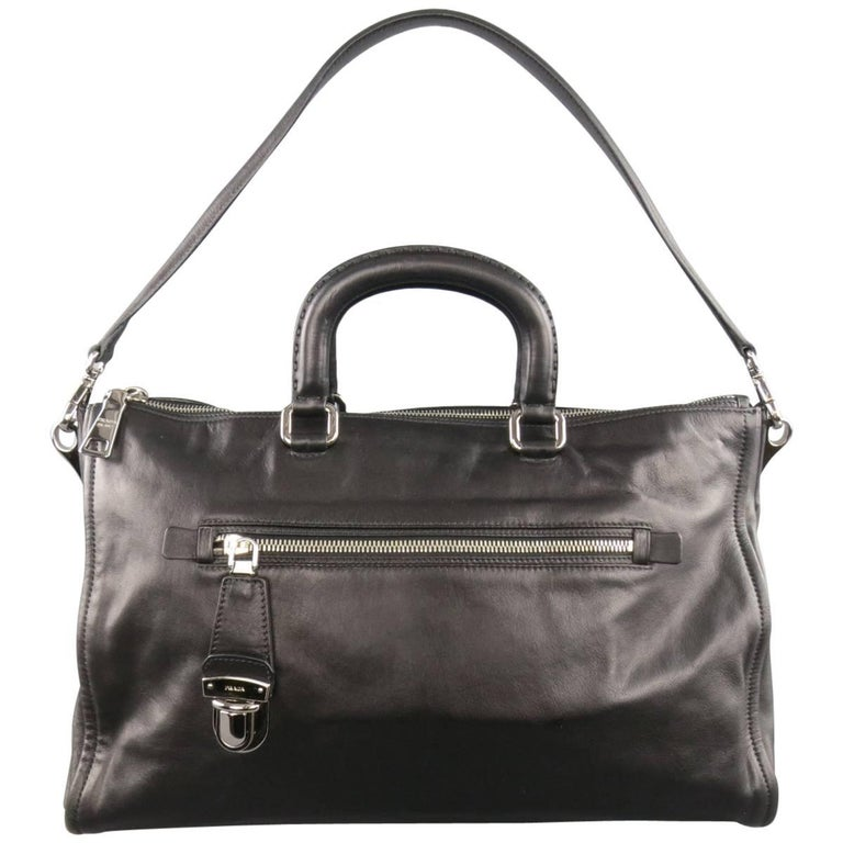 PRADA Black Leather Snap Zipper Shoulder Handbag 1