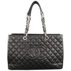 CHANEL Black Quilted Caviar Leather Silver Chain GRAND SHOPPER Tote Handbag
