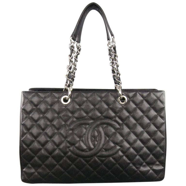 a55d8e784aace1 CHANEL Black Quilted Caviar Leather Silver Chain GRAND SHOPPER Tote Handbag  For Sale