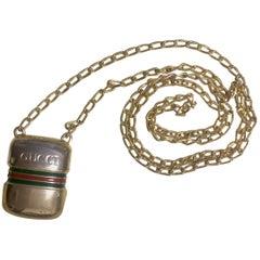 Vintage Gucci golden mini bottle, pill case design necklace with webbing line.